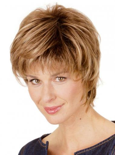 Short Wigs Straight Style Short Length Blonde Color With Capless