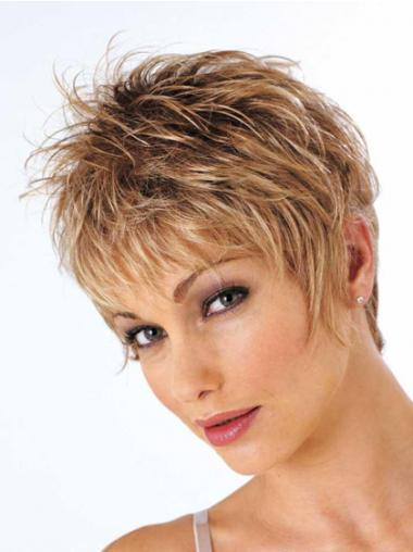 Short Brown Wig Cropped Length Wavy Style With Synthetic Boycuts