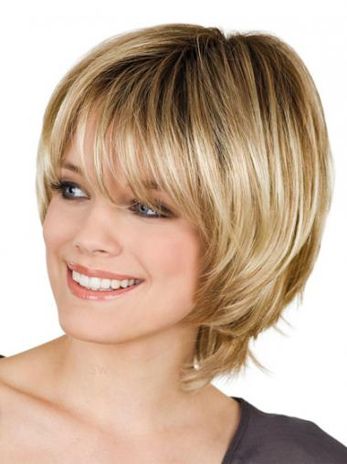 With Bangs Straight Blonde Capless Affordable Short Wigs