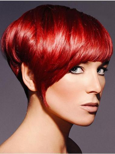 Boycuts Straight Red Capless Sassy Short Wigs