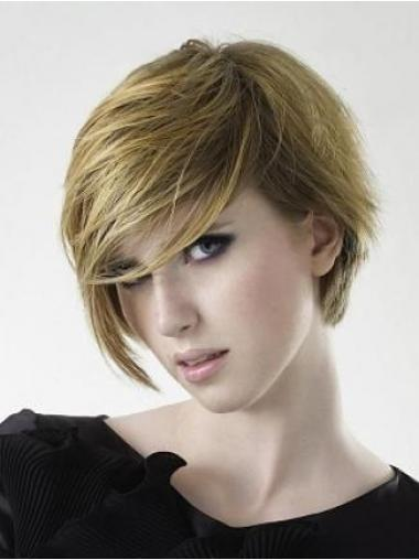 Layered Straight Blonde Capless Cheap Short Wigs