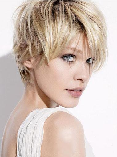 Short Blonde Wigs With Capless Straight Style Boycuts