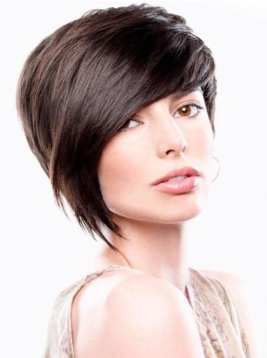 Bobs Straight Brown Capless Sleek Short Wigs