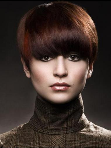 Boycuts Straight Auburn Capless High Quality Short Wigs