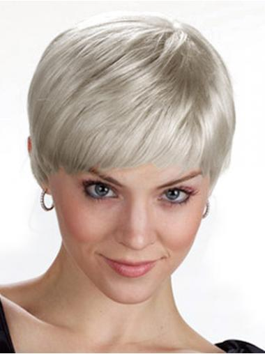 Ladies Grey Wigs UK With Capless Grey Cut Chin Length