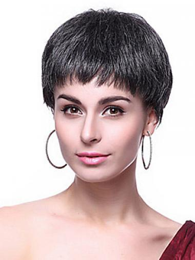 Boycuts Straight Black Capless Hairstyles Short Wigs