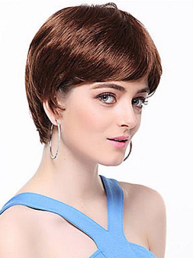 Boycuts Straight Auburn Capless Top Short Wigs