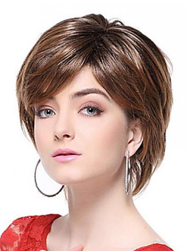 With Bangs Straight Brown Capless Stylish Short Wigs