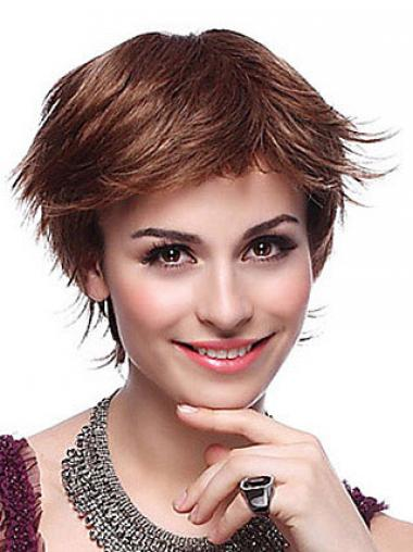 Layered Straight Auburn Capless Trendy Short Wigs