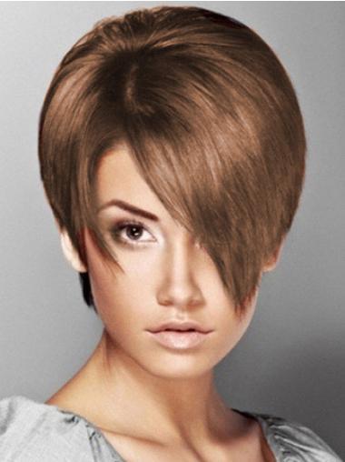 Boycuts Straight Brown Capless Soft Short Wigs