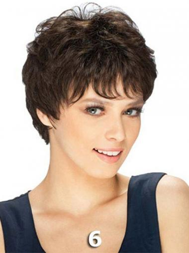 Boycuts Straight Brown Capless Durable Short Wigs