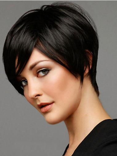 Short Wig With Capless Black Color Boycuts Straight Style