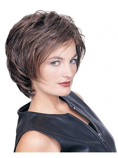 Layered Wavy Brown Capless Exquisite Short Wigs