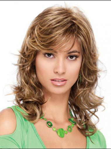 Popular Curly Blonde Shoulder Length Classic Medium Wigs