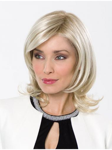 "Wavy Layered Lace Front 12"" Platinum Blonde Shoulder Length Top Quality Synthetic Wigs"