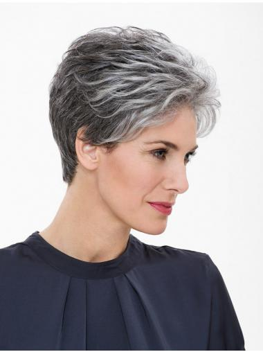 "Capless 7"" Short Synthetic Straight Grey Wig"