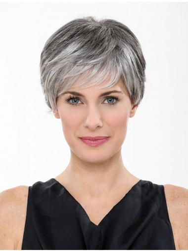 "Lace Front 8"" Short Synthetic Straight Cheap Grey Wigs"