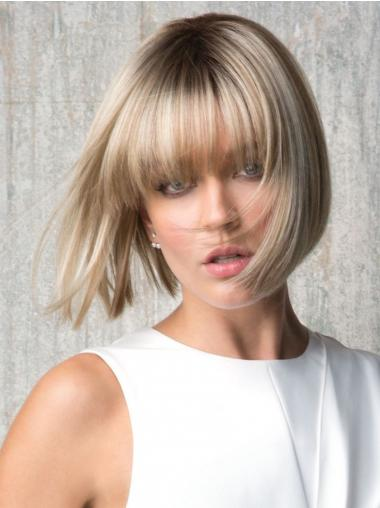 """With Bangs Blonde Straight 8"""" Chin Length Synthetic Wigs"""