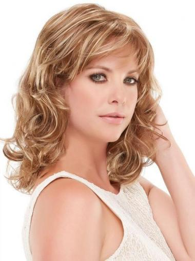 With Bangs Blonde Curly 12 Quot Shoulder Length Synthetic Wigs