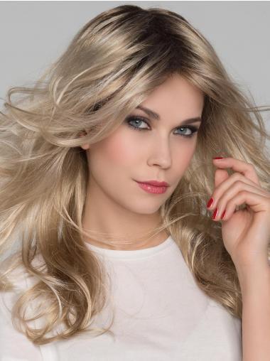 "Platinum Blonde Layered Wavy 16"" Long Mono Crown Lace Wigs"