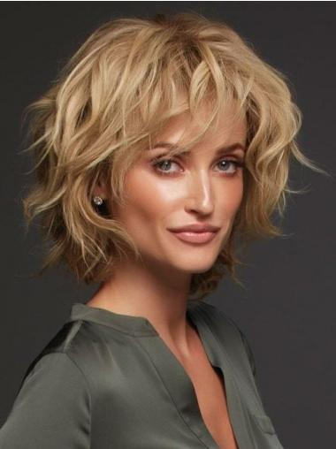 "Blonde Layered Curly 12"" Humanhair Wigs"