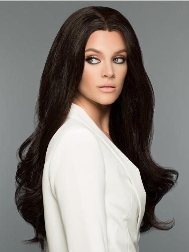 "Black Without Bangs Wavy 26"" 100% Human Hair Wigs"