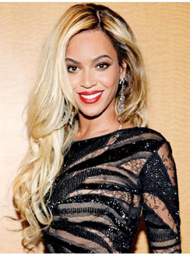 "Blonde Long Wavy Without Bangs Lace Front 24"" Beyonce Wigs"
