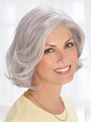 Grey Short Wig Remy Human Wavy Style Chin Length With Capless
