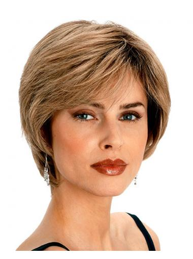 Short Ladies Wigs With Capless Wavy Style Blonde Color Layered Cut