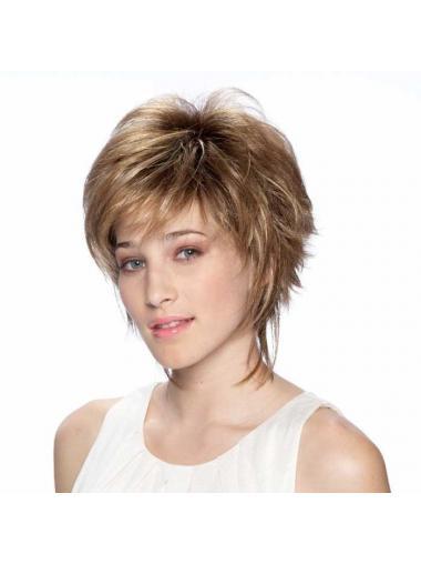 "7"" Modern Straight Layered Blonde Short Wigs"