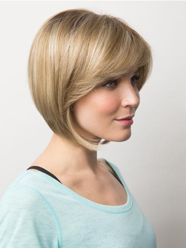 "Trendy 10"" Blonde Chin Length Bobs Straight Lace Wigs"