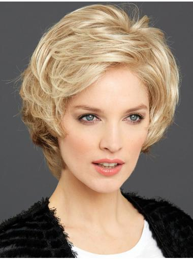 Short Wavy Layered Blonde High Quality 100% Hand-tied Wigs