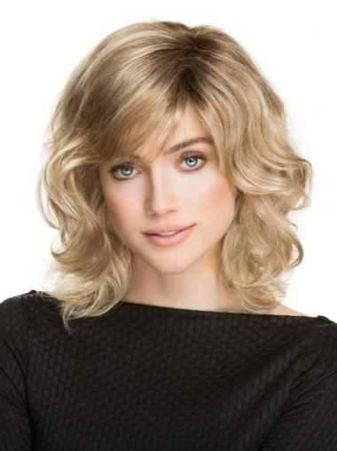 Classic Wigs UK With Synthetic Shoulder Length Blonde Color