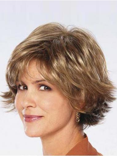 Ladies Synthetic Wigs UK Sale Chin Length Brown Color Wavy Style