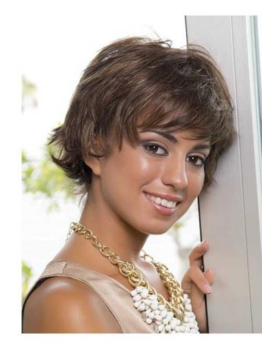 Short Brown Layered Wavy Gorgeous Full Lace Wigs