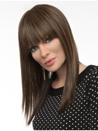 "16"" Remy Human Long Straight With Bangs Monofilament Wig Human"