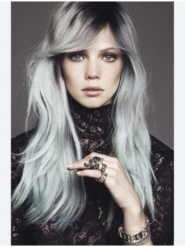 """Synthetic 20"""" Capless Long Straight Grey Wigs For Sale"""