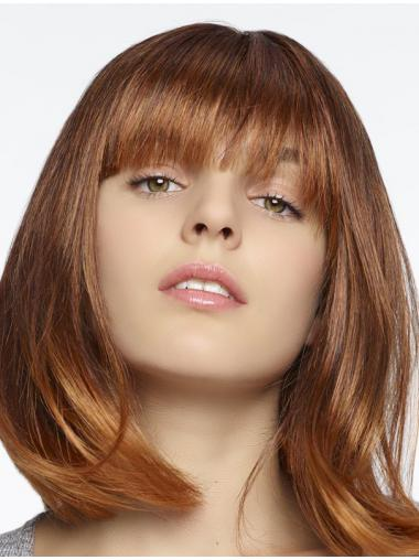 "100% Hand-tied Straight With Bangs Shoulder Length 12"" Online Human Hair Wigs"