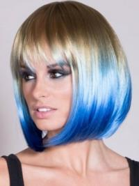 """Chin Length Straight With Bangs Lace Front 22"""" Popular Black Women Wigs"""