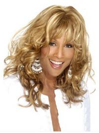 """Blonde Long Curly With Bangs Lace Front 18"""" Beverly Johnson Wigs"""
