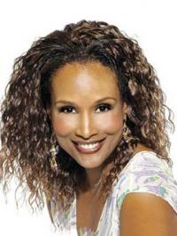 "Black Shoulder Length Curly Without Bangs Full Lace 14"" Beverly Johnson Wigs"