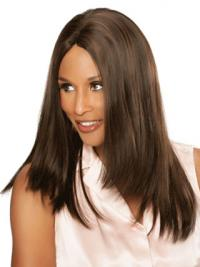 "Brown Long Straight Without Bangs Lace Front 16"" Beverly Johnson Wigs"