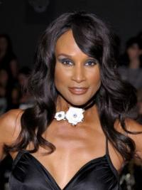 "Black Long Wavy With Bangs Lace Front 18"" Beverly Johnson Wigs"