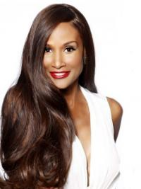 "Brown Long Wavy Without Bangs Lace Front 24"" Beverly Johnson Wigs"