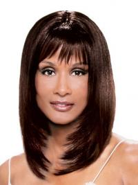 """Auburn Shoulder Length Straight With Bangs Lace Front 14"""" Beverly Johnson Wigs"""