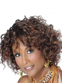 "Brown Chin Length Curly With Bangs Lace Front 10"" Beverly Johnson Wigs"