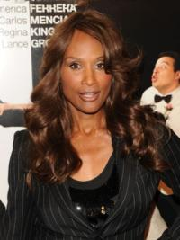 "Brown Long Wavy Without Bangs Lace Front 20"" Beverly Johnson Wigs"