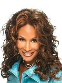 "Brown Long Curly Without Bangs Lace Front 16"" Beverly Johnson Wigs"