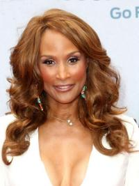 """Brown Long Wavy Without Bangs Full Lace 18"""" Beverly Johnson Wigs"""