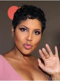 """Curly Black Cropped 6"""" Remy Human Hair Natural Toni Braxton Wigs"""
